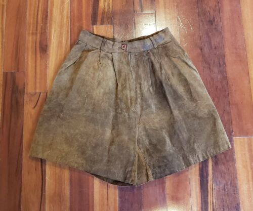 VTG Brown Suede High Waisted Shorts Genuine Leathe