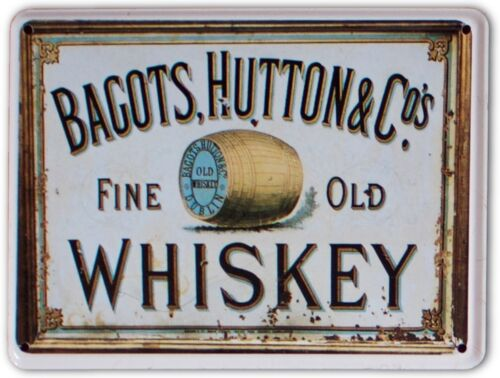 BAGOTS FINE OLD IRISH WHISKEY Small Metal Tin Pub Sign