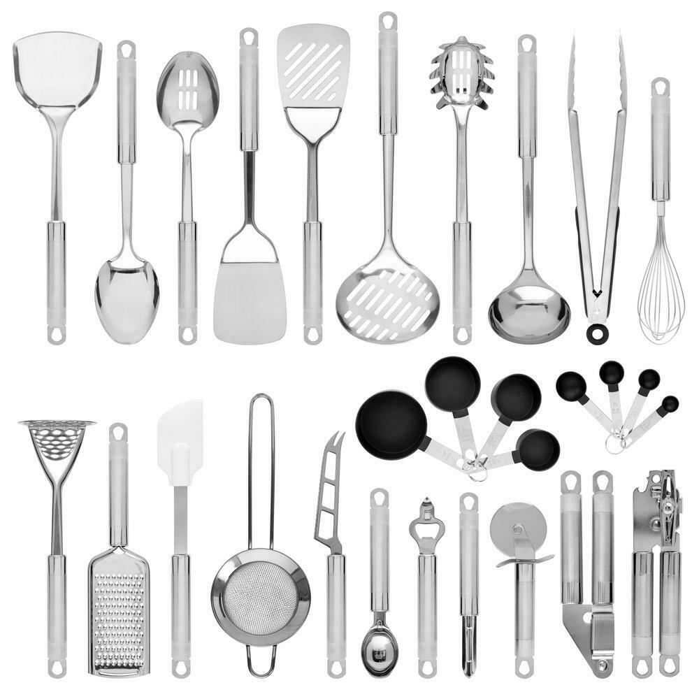 Bcp 29 Piece Stainless Steel Kitchen Cooking Utensil Set Silver New For Sale Online