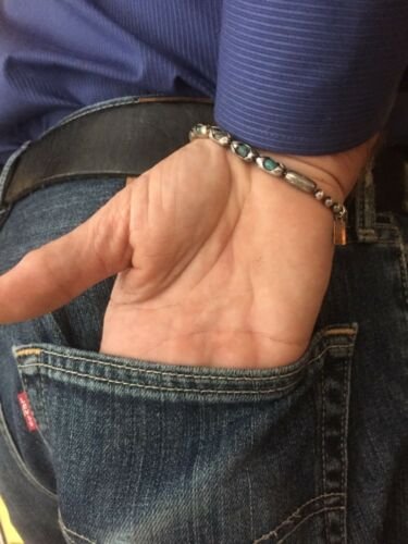 Sterling Bracelet Men/'s Sterling Silver Turquoise Mens Bangle Bracelet The Don