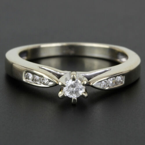 14k Gold Diamond Solitaire Ring w/ Accents - image 1