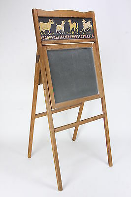 Childs' Vintage Folding Easel Style Chalkboard Farm Animal Themed Wood Frame
