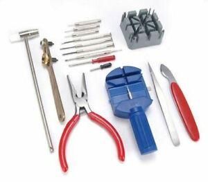 Watch Repair Tool Kit Set Wrist Strap Adjust Pin Back Remover Fix 16 Pc UK STOCK