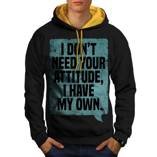 Contrast Attitude New Black Men Hoodie My Funny Saying cappuccio oro Oc4wIqc1