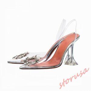 Womens-Transparent-Pointed-Toe-High-Heels-Shpes-Slingback-Sandals-Stilettos-Pump
