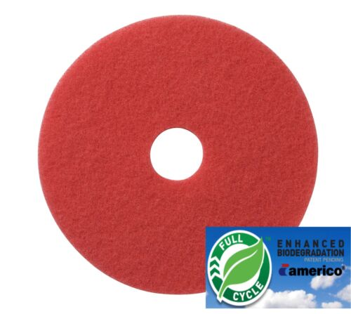 "16/"" Red Floor Scrubbing Buffer Pads Box of 5 Daily Cleaning and Spray Buffing"