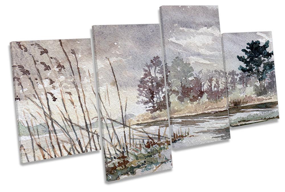 Lake Watercolour grau Landscape MULTI CANVAS WALL ARTWORK Print Art