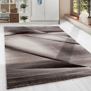 Kurzflor-Teppich-modern-abstrakt-Lienien-Schatten-Muster-Wohnzim-Braun-Meliert