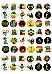 48 Mini Reggae And Soul Cupcake Toppers Iced Icing Fairy