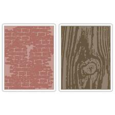 Sizzix Tim Holtz Bricked & Woodgrain Texture Fades 2pk Embossing Folders 656644