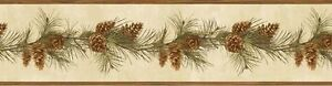 Rustic-Lodge-Pine-Cone-Pine-Boughs-Trail-Brewster-Wallpaper-Border-BVB48403
