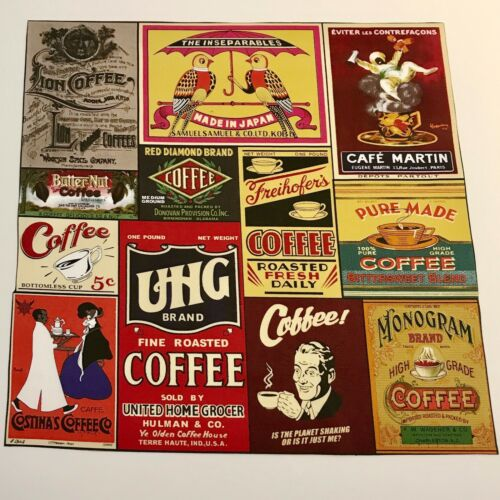 VINTAGE COFFEE ADVERTS Set of 13 Fabric Swatches From Australia