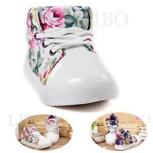 7d538ab21 Détails sur Chaussure Montante Enfant Bébé Fille Baskets à Lacets Fleur  Mode Automne-Hiver