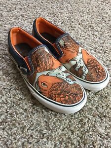 92fc823be3 RARE Vans Classic Slip On Koi Fish Canvas Shoes Mens SZ 7 Orange