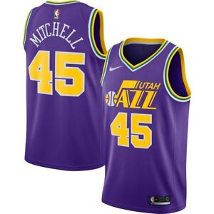 new arrival f76d1 38706 Details about 2018-2019 Nike Utah Jazz Donovan Mitchell #45 Hardwood  Classics Swingman Jersey
