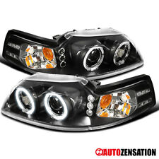 For 1999 2004 Ford Mustang Black Led Halo Projector Headlights Lamps Leftright Fits Mustang