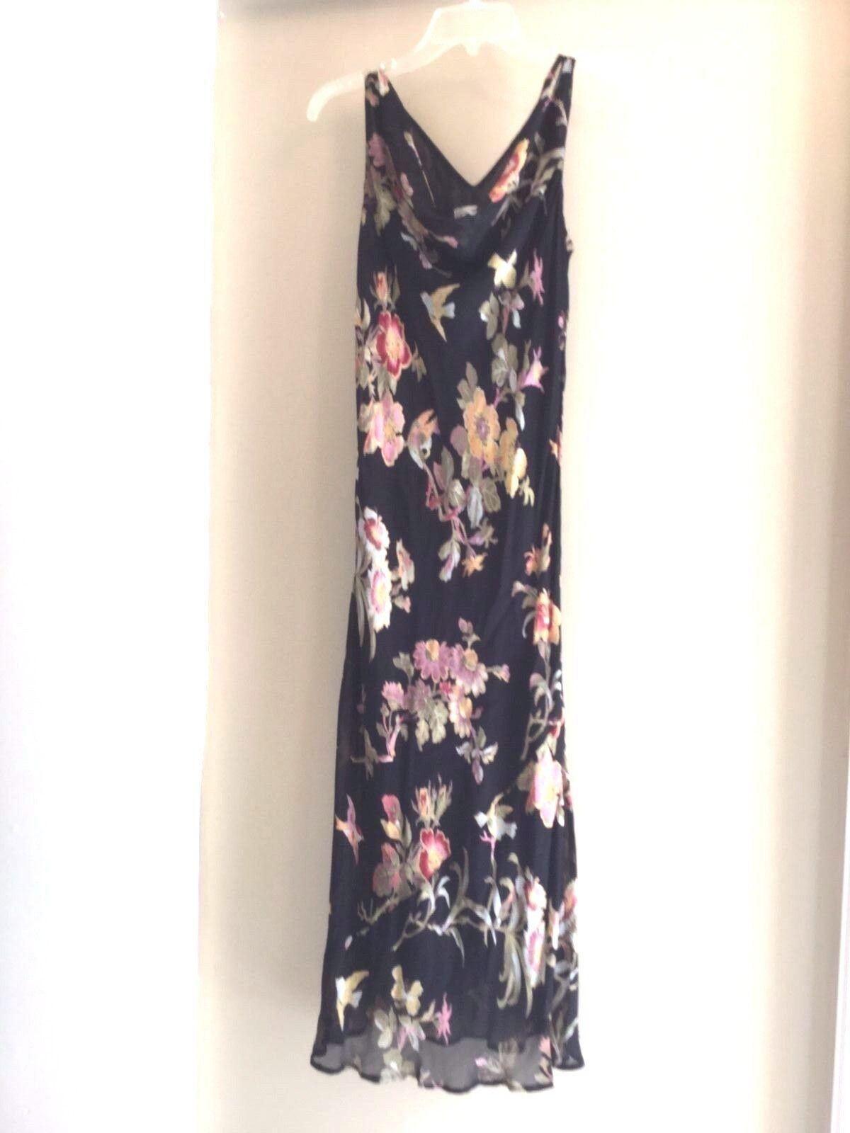 CDC  Summer party cocktail  Cowl Neck dress schwarz floral bird 6