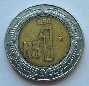 Image Is Loading 1994 Mexico 1 Peso Dollar Bi Metallic Coin