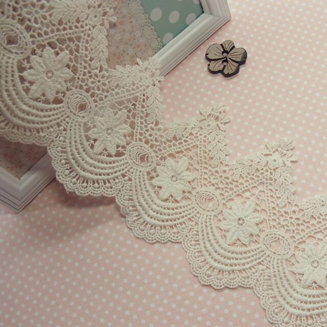 1yard Modern Style scalloped Embroidery Cotton Fabric Crochet Lace 11.5cm Wide