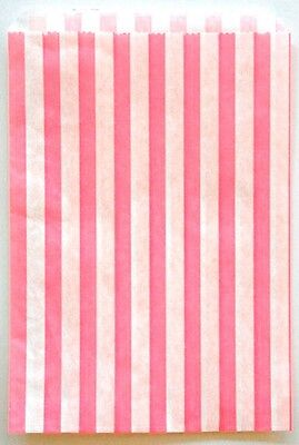 Traditional Sweet Shop Candy Stripe Paper Bags Brown 5x7 Favor Bags