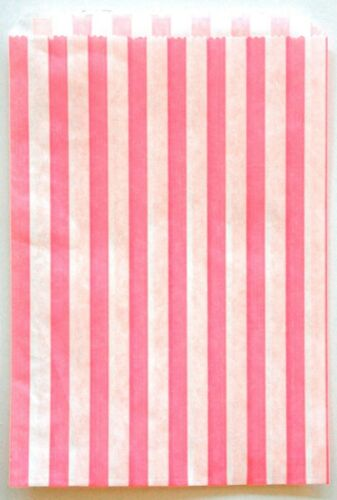 Pink 5x7 Favor Bags Traditional Sweet Shop Candy Stripe Paper Bags