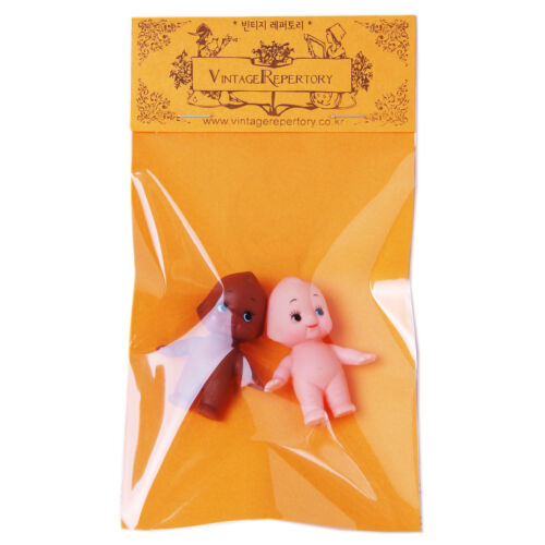 """Cute Kewpie Dolls Baby Vintage Cameo Figurine Rubber Ornament Stand Toys 2pcs 2/"""""""