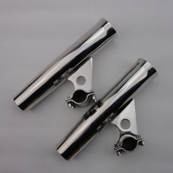 Brand 2X Stainless Steel Clamp On Fishing Horizontal Mount Rod Holders Fit 1''