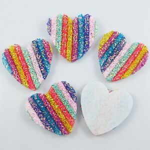 5pcs Puffy Glitter Heart Craft Embellishments Scrapbooking Cardmaking Accessory