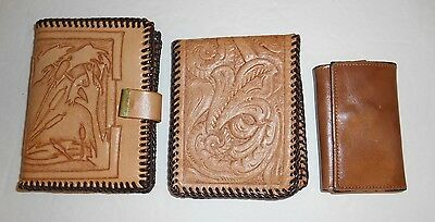Vintage Tooled Leather Wallets Buxton 15 Snap Close Key Holder Lot of 3