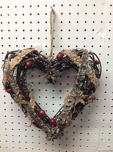 Christmas Heart Wreath.Details About 22cm Christmas Heart Shaped Twig Wreath