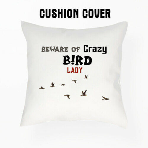 Méfiez-vous des Crazy Bird Lady Themed SATIN//LIN Housse de coussin