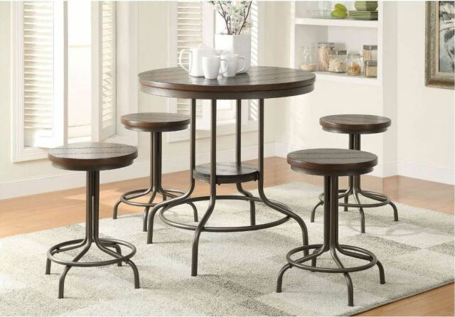 Fabulous Pub Table Set 5 Piece Rustic Dining Counter Height High Top Bar Stool Kitchen Ibusinesslaw Wood Chair Design Ideas Ibusinesslaworg