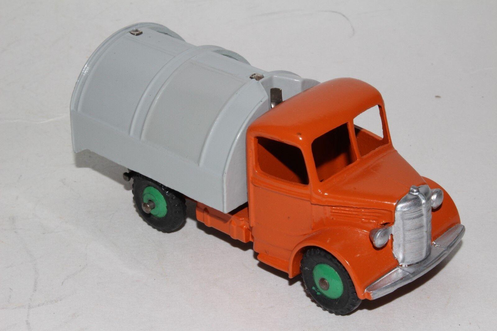 594ms Dinky 252 Bedford Basura Camión, Naranja, gris Cuerpo, Restaurado