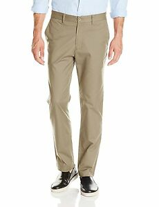 18173 Nautica Mens and Beige Slim Fit Flat Front Twill Chino Pants Sz 38W x 32L