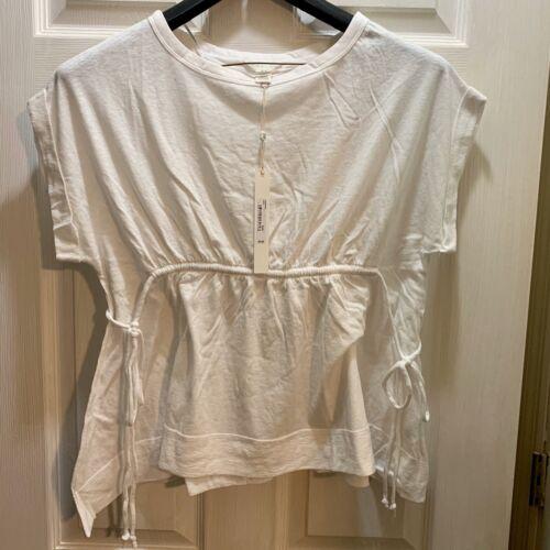 Caslon Tie Waist Peplum Tee Shirt White NWT Petite XXS