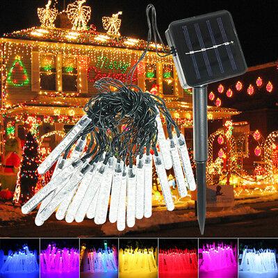 3.5M 20LED Solar LED Fairy String Lamp Meteor Shower Tube Light Garden Deco IP65