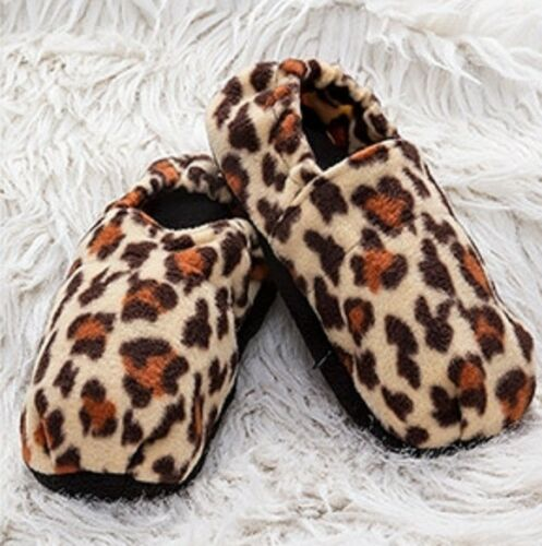 Fußwärmer aufheizbare Mikrowellen Wärme Socken Pantoffeln Hausschuhe Leopard