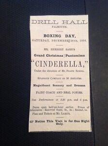 H8-1-Ephemera-1896-Advert-Falmouth-Drill-Hall-Cinderella-Pantomime-Barr
