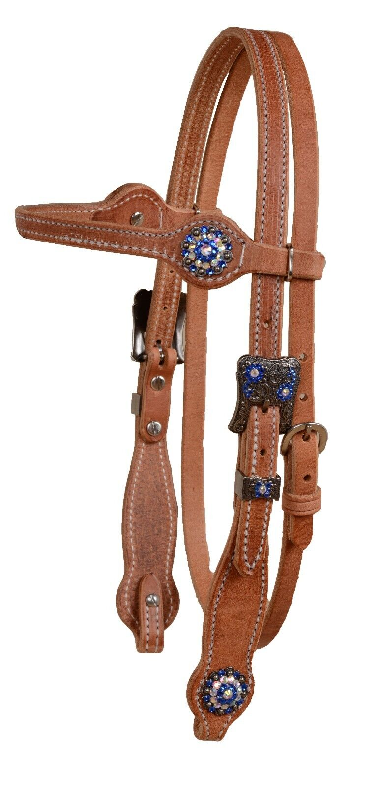 Harness leather browband bridle headstall bluee crystal cowgirl classic USA H385