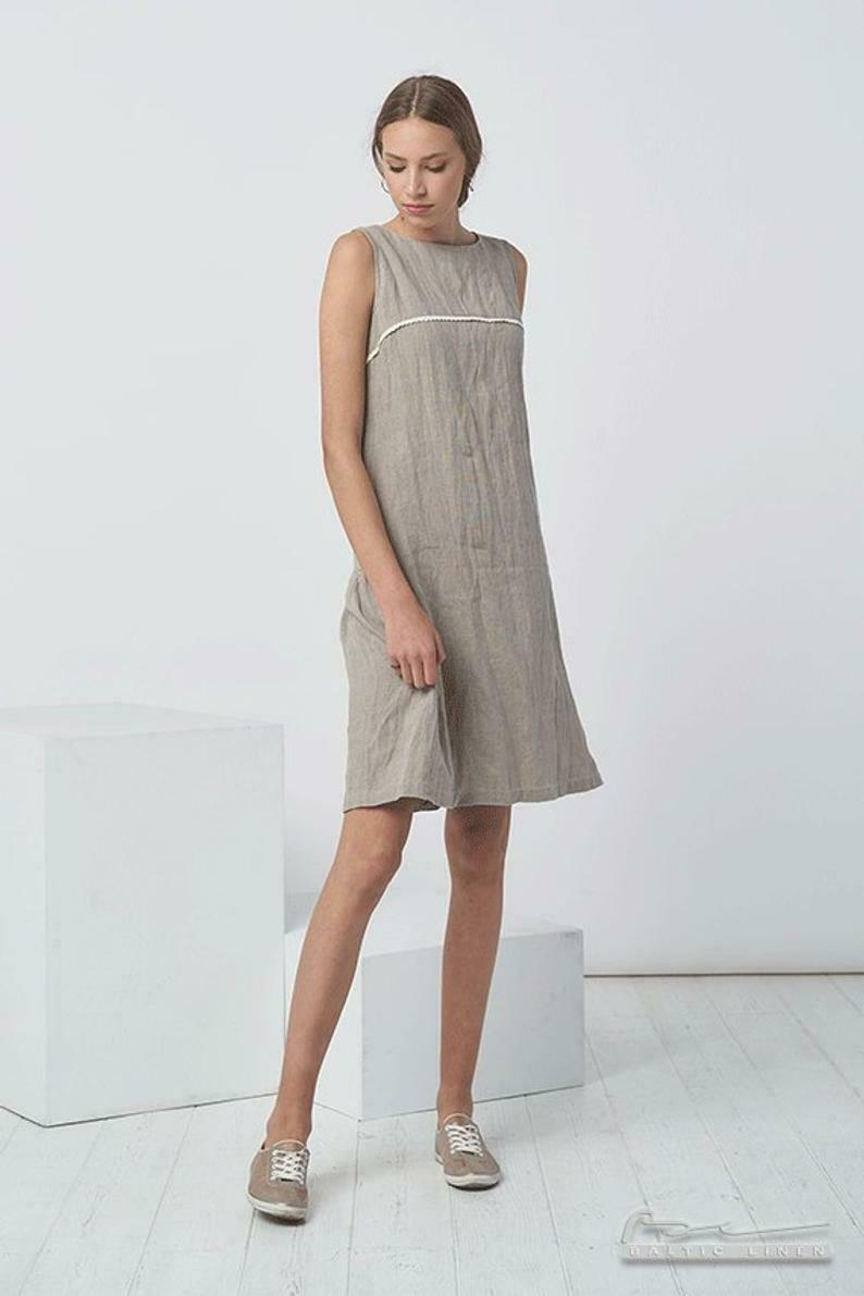 PATTERNS Women Dresses Pure Linen Washed Soft Flax Dress Summer Fashion