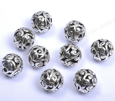 Wholesale Tibetan Silver Round Heart Metal Carved Hollow Spacer Beads 12MM