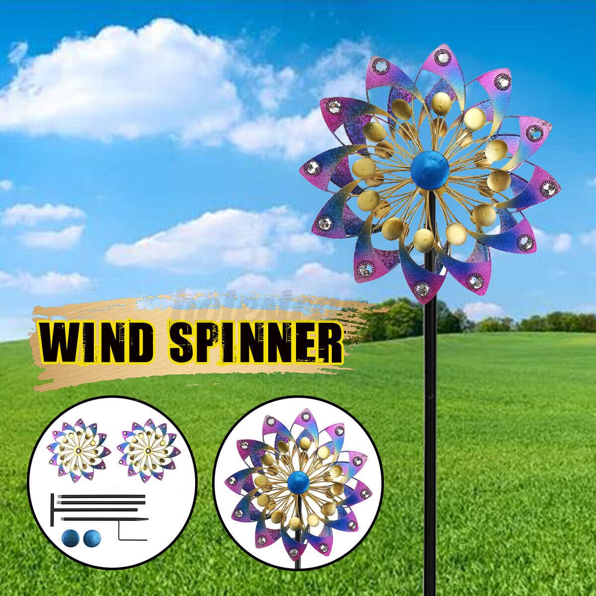 Metal Iron Wind Spinner Windmill Sculpture Yard Lawn Outdoor Decoration Garden