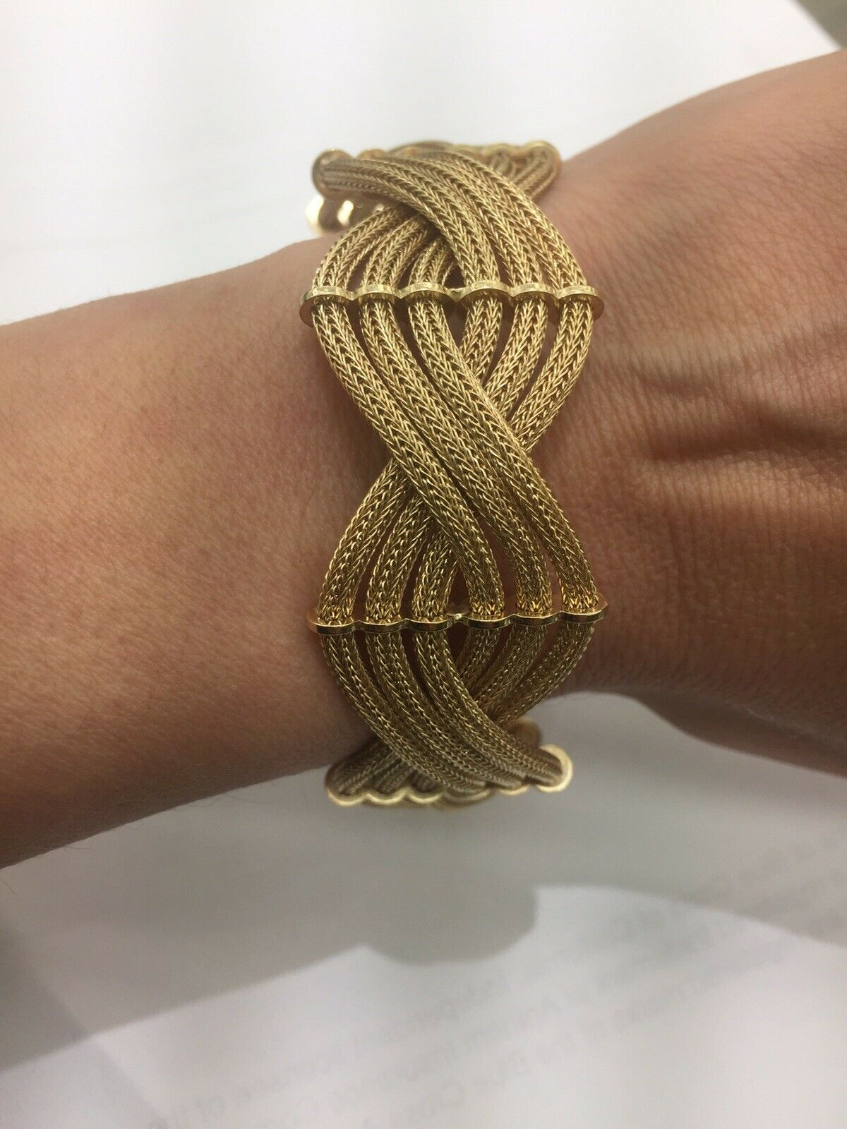 14k Yellow gold Mesh Franco 24mm Wide 8.2 Inches Bracelet