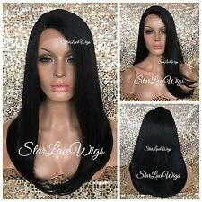 Long Straight Lace Front Wig Off Black #1b Side Part Heat Safe Ok