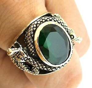 BIG GREEN EMERALD VIPER SNAKE GOLD BRASS RING NEW MEN BIKER JEWELRY