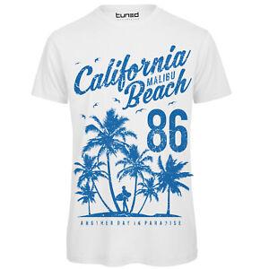 huge discount 4a5c7 7106d Dettagli su T-Shirt Divertente Uomo Maglia con Stampa Colorata Estate  California Beach Tuned