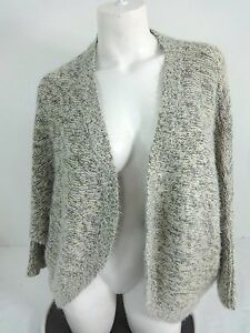 NWT-ATTENTION-WOMENS-WHITE-amp-GRAY-WITH-GOLD-ACCENT-OPEN-CARDIGAN-SWEATER-SIZE-XL
