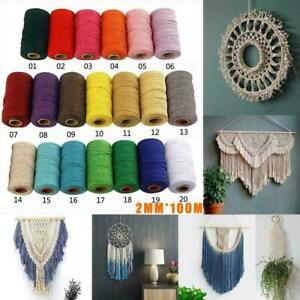 DIY-Macrame-Rope-Cotton-Twisted-Cord-Hand-Craft-String-2mm-91m-Home-Wholesale