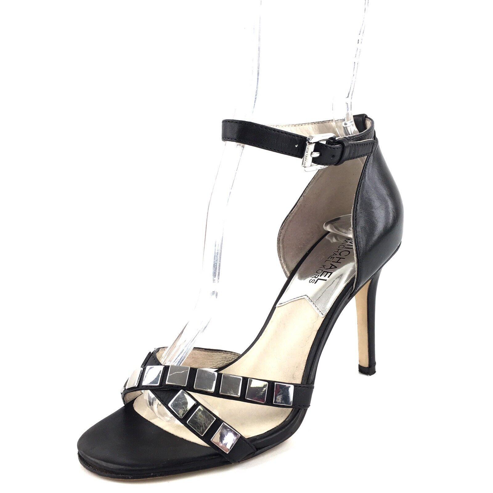 Michael Kors Simone Black Leather Ankle Strap Sandals Women's Size 6 M*