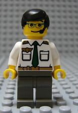 Lego Minifig MALE AIRLINE PILOT - City Airport Boy w/Black Hair & Gray Legs